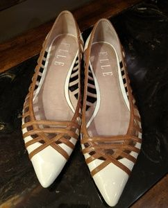 Shoes - Cream / Camel Leather Detailed Flats
